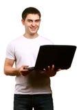 Άτομο με το lap-top Στοκ Φωτογραφία