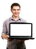 Άτομο με το lap-top Στοκ Εικόνα