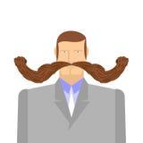 Άτομο με το mustache βάρβων Μεγάλο και βαρύ mustache Ένας μέσης ηλικίας διανυσματική απεικόνιση