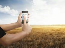 Άτομο με το smartphone στον ξηρό τομέα χλόης Στοκ φωτογραφίες με δικαίωμα ελεύθερης χρήσης