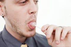 Άτομο με Lollypop Στοκ φωτογραφία με δικαίωμα ελεύθερης χρήσης