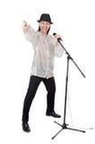 Άτομο με mic που απομονώνεται Στοκ Φωτογραφία