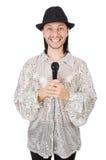 Άτομο με mic που απομονώνεται Στοκ εικόνες με δικαίωμα ελεύθερης χρήσης