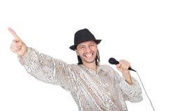 Άτομο με mic που απομονώνεται Στοκ Εικόνες