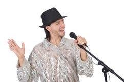 Άτομο με mic που απομονώνεται Στοκ φωτογραφία με δικαίωμα ελεύθερης χρήσης