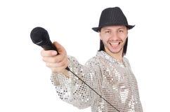 Άτομο με mic που απομονώνεται Στοκ φωτογραφίες με δικαίωμα ελεύθερης χρήσης