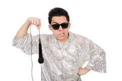 Άτομο με mic που απομονώνεται Στοκ Εικόνα