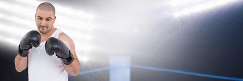 Άτομο μπόξερ με τα φωτεινά φω'τα Στοκ φωτογραφία με δικαίωμα ελεύθερης χρήσης