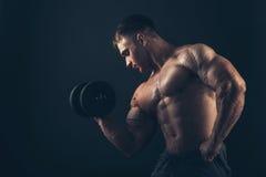 Άτομο μυών που κάνει bicep τις μπούκλες Στοκ Εικόνες