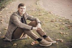 Άτομο μόνο το φθινόπωρο Στοκ Φωτογραφία