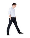 Άτομο μόδας που στέκεται πέρα από το λευκό στοκ εικόνες