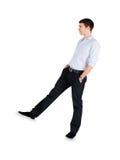 Άτομο μόδας που στέκεται πέρα από το λευκό στοκ φωτογραφίες