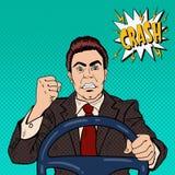 Άτομο οδηγών που παρουσιάζει οδική οργή πυγμών του Λαϊκή τέχνη διανυσματική απεικόνιση