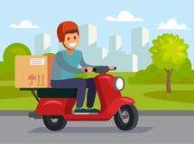 Άτομο παράδοσης που οδηγά το κόκκινο ποδήλατο μηχανών Στοκ εικόνες με δικαίωμα ελεύθερης χρήσης
