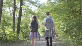 Άτομο πορτρέτου και νέο χαριτωμένο κορίτσι που περπατούν ανά το δασικό ζευγάρι των ταξιδιωτών με τα σακίδια πλάτης υπαίθρια Ζεύγη απόθεμα βίντεο