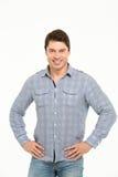 Άτομο πορτρέτου στο μπλε πουκάμισο Στοκ φωτογραφία με δικαίωμα ελεύθερης χρήσης