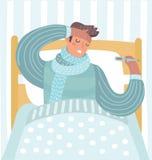 Άτομο που αισθάνεται κακό να βρεθεί στο κρεβάτι και το βήξιμο απεικόνιση αποθεμάτων