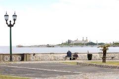 Άτομο που αλιεύει στην ακτή ποταμών στις BS Όπως Πόλη στοκ φωτογραφίες με δικαίωμα ελεύθερης χρήσης