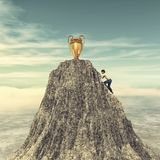 Άτομο που αναρριχείται σε έναν απότομο βράχο βουνών ελεύθερη απεικόνιση δικαιώματος