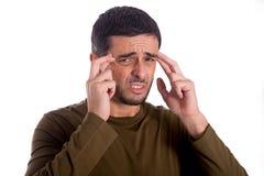 Άτομο που ανησυχείται υφισμένος τον πονοκέφαλο στοκ φωτογραφία με δικαίωμα ελεύθερης χρήσης