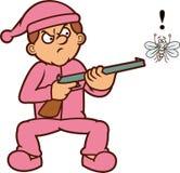 Άτομο που απειλεί το κουνούπι με την απεικόνιση κινούμενων σχεδίων πυροβόλων όπλων Στοκ Εικόνες