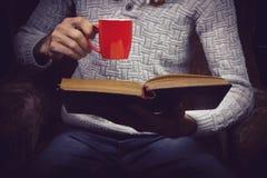 Άτομο που απολαμβάνει το τσάι διαβάζοντας Στοκ Εικόνα