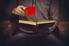 Άτομο που απολαμβάνει το τσάι διαβάζοντας Στοκ εικόνες με δικαίωμα ελεύθερης χρήσης
