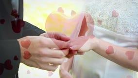 Άτομο που βάζει το δαχτυλίδι το fiancee του με τις ψηφιακές καρδιές διανυσματική απεικόνιση