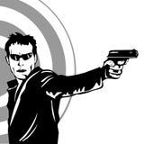 Άτομο που βλασταίνει ένα πυροβόλο όπλο Στοκ Εικόνες