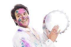 Άτομο που γιορτάζει Holi Στοκ φωτογραφία με δικαίωμα ελεύθερης χρήσης