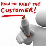 Άτομο που γράφει πώς να κρατήσει τον πελάτη εν πλω Στοκ εικόνες με δικαίωμα ελεύθερης χρήσης