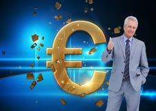 Άτομο που δίνει τους αντίχειρες μέχρι το χρυσό ευρώ Στοκ Εικόνες