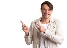 Άτομο που δείχνει τα δάχτυλα Απομονωμένος στο λευκό Στοκ εικόνες με δικαίωμα ελεύθερης χρήσης