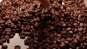 Άτομο που εκσκάπτει τα ψημένα φασόλια καφέ, έξοχος σε αργή κίνηση πυροβολισμός φιλμ μικρού μήκους