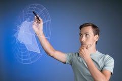 Άτομο που εργάζεται με τη διαλογική διεπαφή του Sci Fi HUD Στοκ Εικόνα