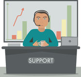 Άτομο που εργάζεται στην υποστήριξη, διευθυντής τηλεφωνικών κέντρων, γραμματέας στην υποδοχή διανυσματική απεικόνιση