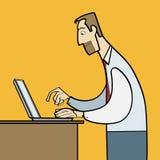 Άτομο που εργάζεται στο επίπεδο διάνυσμα lap-top Στοκ φωτογραφίες με δικαίωμα ελεύθερης χρήσης