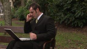 Άτομο που εργάζεται στο πάρκο στο lap-top απόθεμα βίντεο
