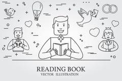 Άτομο που διαβάζει ένα βιβλίο και που φαντάζεται το Love Story Σκεφτείτε το ico γραμμών Στοκ Φωτογραφία