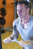 Άτομο που κάνει την τροχαλία pushdown - workout ρουτίνα στοκ φωτογραφία