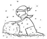 Άτομο που κάνει το μεγάλο χιονάνθρωπο να συσσωρευτεί κατά τη διάρκεια των χειμερινών χιονοπτώσεων Στοκ Εικόνα