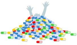 Άτομο που καλύπτεται άρρωστο με τα φάρμακα Στοκ εικόνα με δικαίωμα ελεύθερης χρήσης