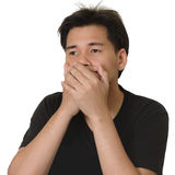 Άτομο που καλύπτει το στόμα Στοκ Εικόνα