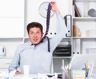 Άτομο που κουράζεται λυπημένο της εργασίας Στοκ Φωτογραφίες