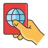 Άτομο που κρατά διαθέσιμο το διαβατήριό του, προσωπικός προσδιορισμός, έννοια περασμάτων ταξιδιού ελεύθερη απεικόνιση δικαιώματος