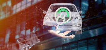 Άτομο που κρατά μια ηλεκτρική smartcar τρισδιάστατη απόδοση έννοιας Στοκ Εικόνα