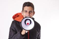 Άτομο που κραυγάζει με megaphone Στοκ Εικόνες