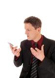 Άτομο που κραυγάζει στο τηλέφωνο κυττάρων Στοκ Εικόνες