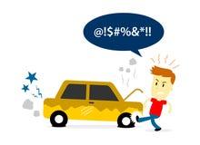 Άτομο που κλωτσά ένα ελαστικό αυτοκινήτου του παλαιού σπασμένου αυτοκινήτου Στοκ Εικόνες