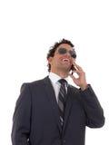 Άτομο που μιλά στο τηλέφωνο και το γέλιο Στοκ φωτογραφία με δικαίωμα ελεύθερης χρήσης